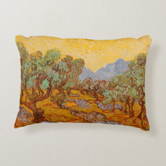 Olive trees with yellow sun and sky van gogh accent pillow