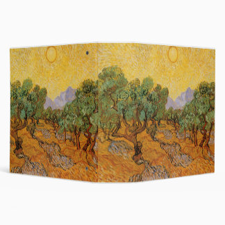 Olive Trees, Yellow Sky and Sun, Vincent van Gogh Binder