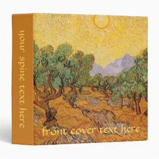 Olive Trees Yellow Sky and Sun Vincent van Gogh Vinyl Binder