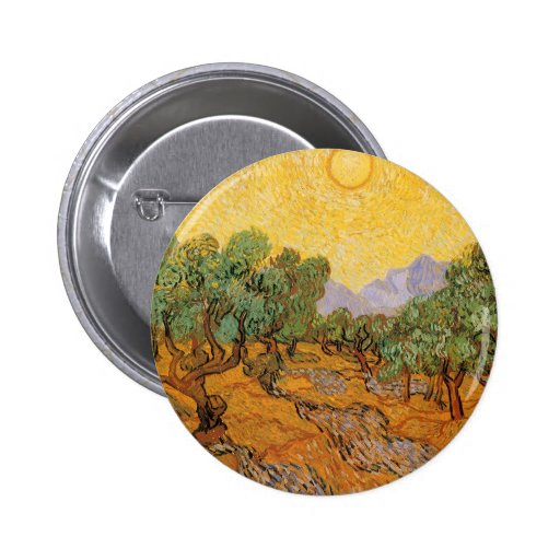 Olive Trees, Yellow Sky and Sun, Vincent van Gogh Pinback Button