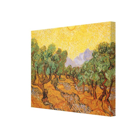 Olive Trees, Yellow Sky and Sun, Vincent van Gogh Canvas Print