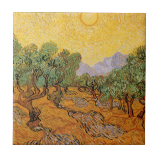 Olive Trees, Yellow Sky and Sun, Vincent van Gogh Ceramic Tile