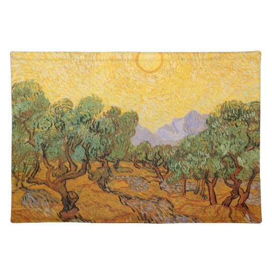 Olive Trees, Yellow Sky and Sun, Vincent van Gogh Cloth Placemat