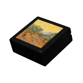 Olive Trees, Yellow Sky and Sun, Vincent van Gogh Jewelry Box