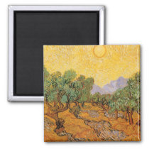 Olive Trees, Yellow Sky and Sun, Vincent van Gogh Magnet