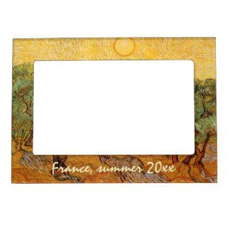 Olive Trees, Yellow Sky and Sun, Vincent van Gogh Magnetic Frames