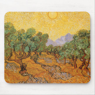 Olive Trees, Yellow Sky and Sun, Vincent van Gogh Mouse Pad
