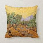 Olive Trees, Yellow Sky and Sun, Vincent van Gogh Pillows