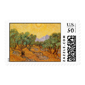 Olive Trees, Yellow Sky and Sun, Vincent van Gogh Postage