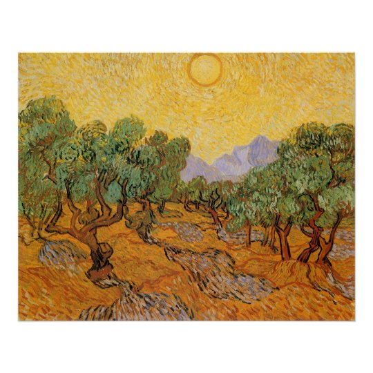 Olive Trees, Yellow Sky and Sun, Vincent van Gogh Poster