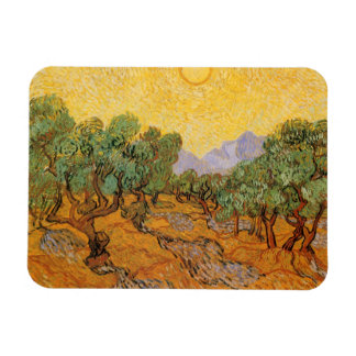 Olive Trees, Yellow Sky and Sun, Vincent van Gogh Flexible Magnet