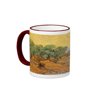 Olive Trees, Yellow Sky and Sun, Vincent van Gogh Ringer Mug