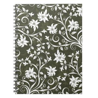Olive Trumpetflower Floral Pattern Notebook
