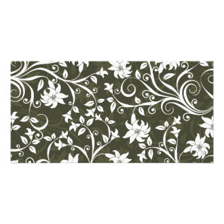 Olive Trumpetflower Floral Pattern Customized Photo Card