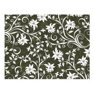 Olive Trumpetflower Floral Pattern Post Card