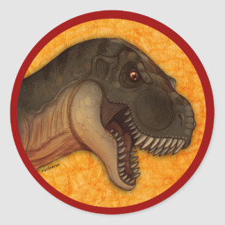 Olive Tyrannosaurus Classic Round Sticker