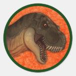 Olive Tyrannosaurus Round Sticker