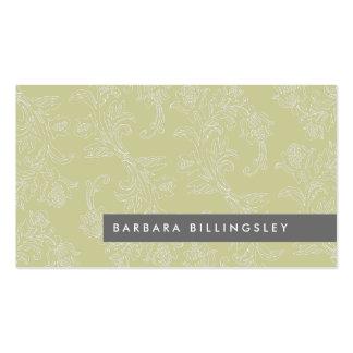 Olive Vintage Floral Pattern Business Card Design