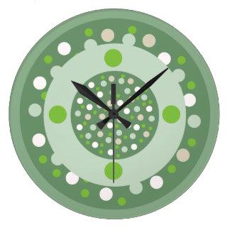 Olive White Beige Polka Dot Wall Clock