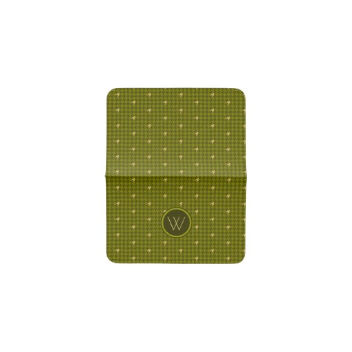 Olive with Gold Accent Houndstooth Card Wallet