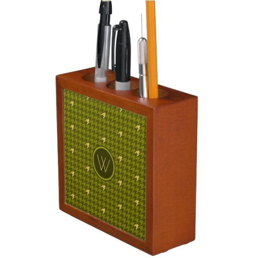 Olive with Gold Accent Houndstooth Desk Organizer