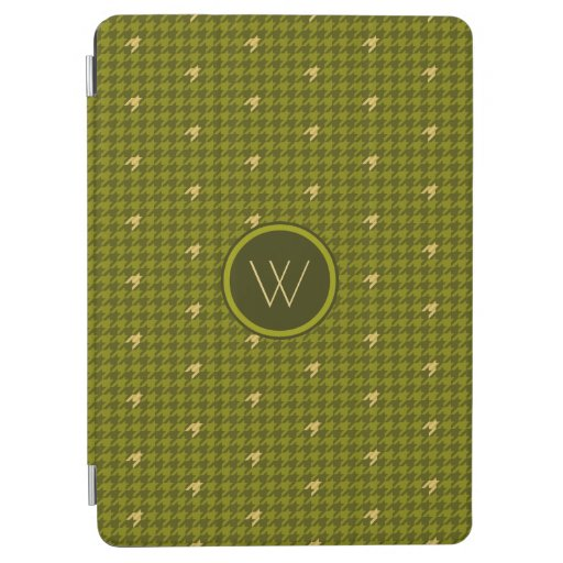 Olive with Gold Accent Houndstooth iPad Cover