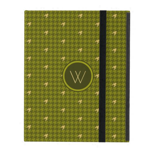 Olive with Gold Accent Houndstooth iPad Powis Case