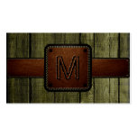 Olive Wood Brown Leather Look Monogram Double-Sided Standard Business Cards (Pack Of 100)
