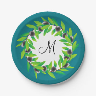 Olive Wreath Monogram 7 Inch Paper Plate