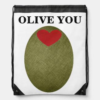 Olive You Drawstring Backpack