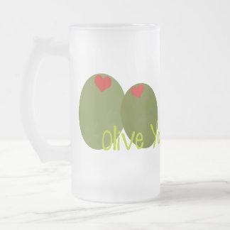 Olive You Frosted Glass Beer Mug