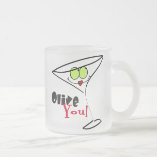 Olive You Frosted Glass Coffee Mug