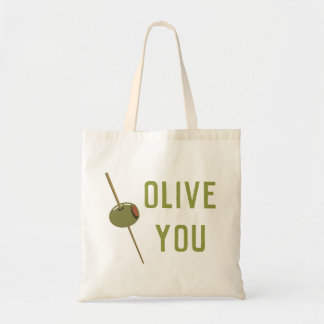 Olive You (I Love You) Funny Romantic Valentine Tote Bag