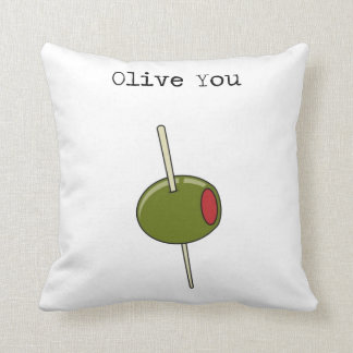 Olive You I Love You Throw Pillow