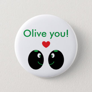 """""""Olive you!"""" I Love You Valentine's Day Button"""