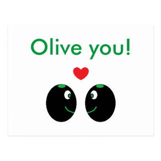 """Olive you!"" I Love You Valentine's Day Postcard"