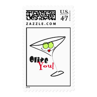 Olive You Martini Valentine Stamps