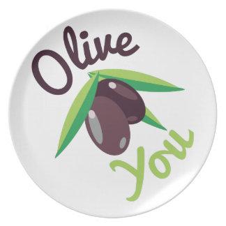 Olive You Melamine Plate
