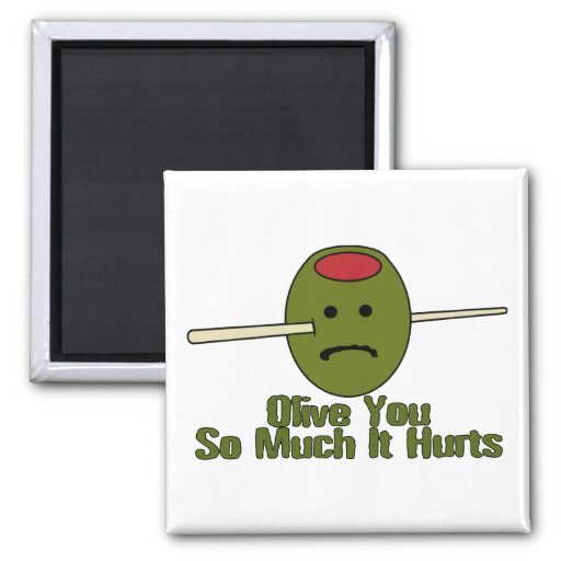 Olive You So Much 2 Inch Square Magnet