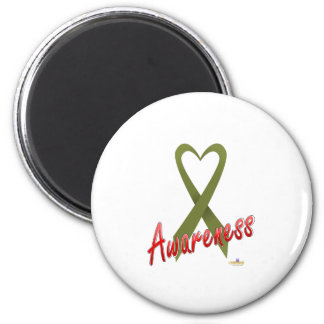 OliveGreenHeartRibbonAwareness Imán Redondo 5 Cm