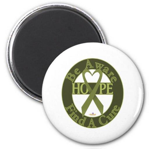 OliveGreenHeartRibbonBeAwareFindCureDark 2 Inch Round Magnet