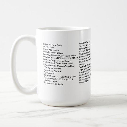 Oliver 60 Row Crop Mug With Tractor Specs!