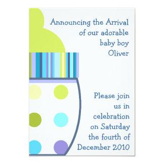 "Oliver Baby Bottle 5"" X 7"" Invitation Card"