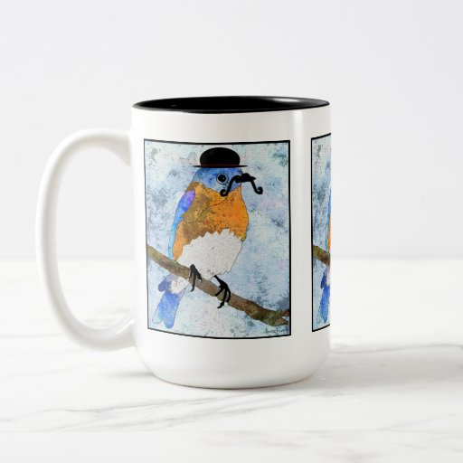 Oliver Bluebird with mustache, bowler mug