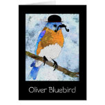 Oliver Bluebird with mustache,bowler notecard Greeting Card
