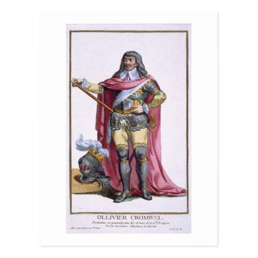 Oliver Cromwell (1599-1658) 1780 (engravi coloread Tarjeta Postal
