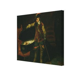 Oliver Cromwell con el ataúd de Charles I Impresión En Lienzo