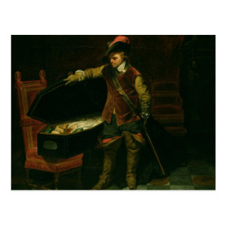 Oliver Cromwell con el ataúd de Charles I Tarjeta Postal
