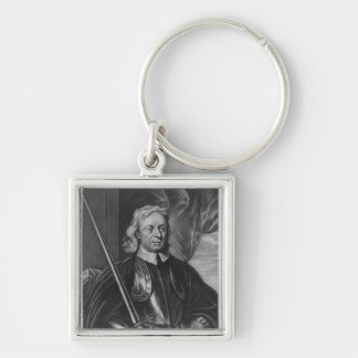 Oliver Cromwell  illustration Silver-Colored Square Keychain
