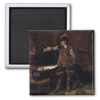 Oliver Cromwell  Opening the Coffin of Charles 2 Inch Square Magnet
